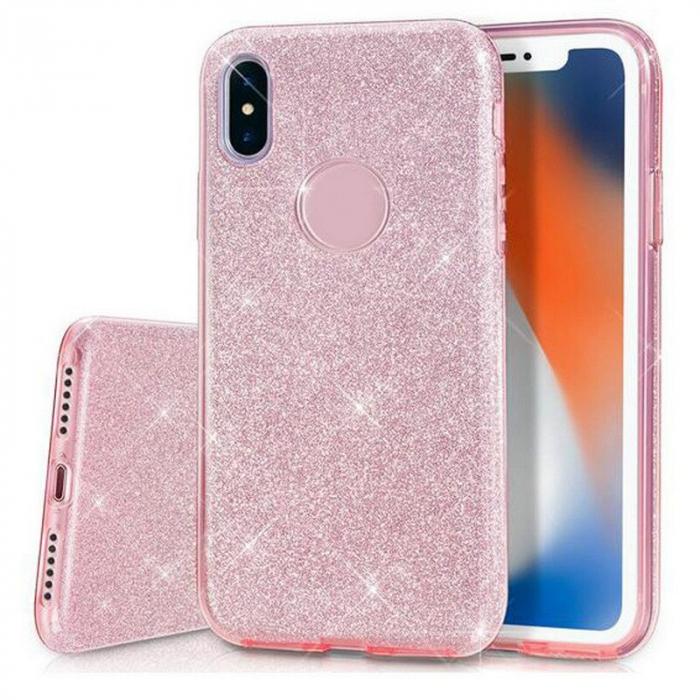 Husa silicon 3 in 1 cu sclipici Iphone X/Xs - Rose 0