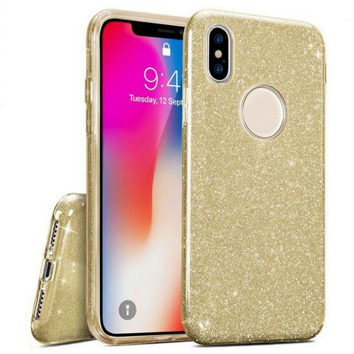 Husa silicon 3 in 1 cu sclipici Iphone X/Xs - Gold 0