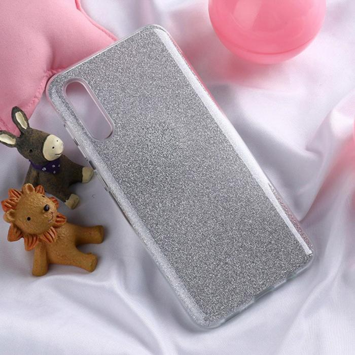 Husa silicon 3 in 1 cu sclipici Samsung A70 - Silver 0