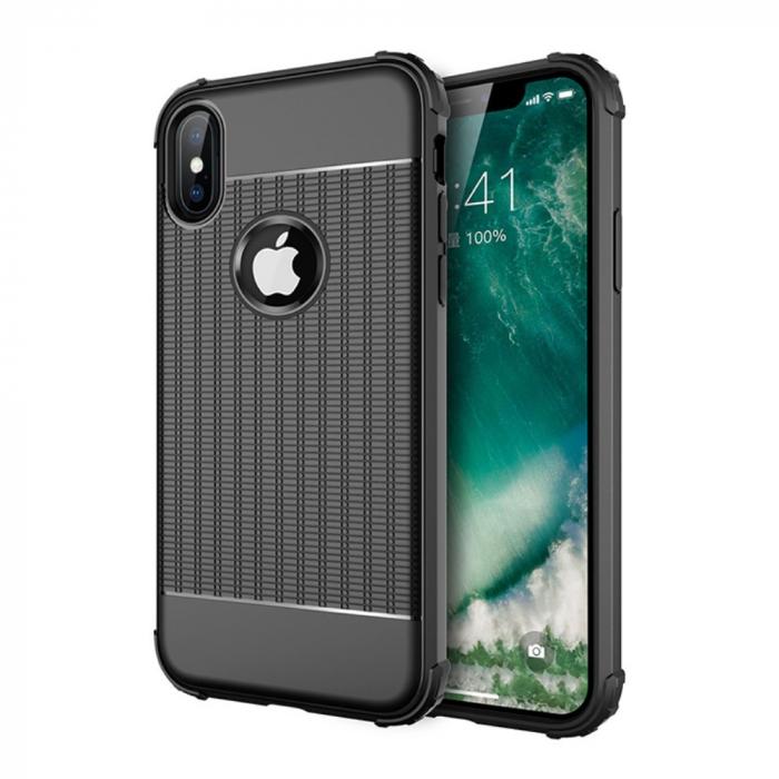 Husa silicon anti shock cu striatii Iphone Xr, Negru [0]