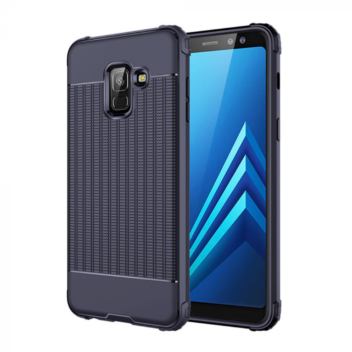Husa silicon anti shock cu striatii Samsung A6 plus (2018), Albastru 0