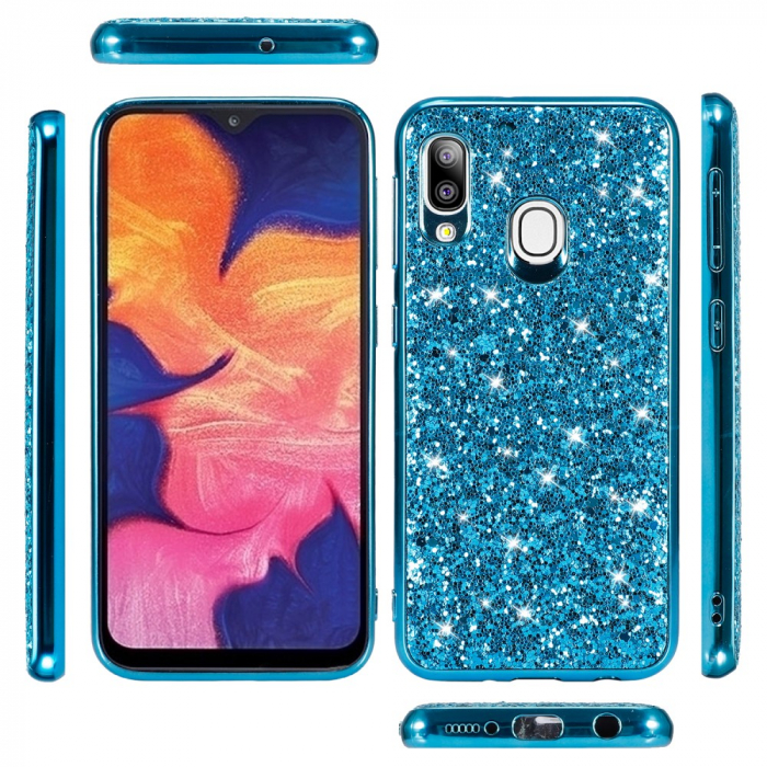 Husa silicon cu sclipici Samsung A20e - Albastru 1