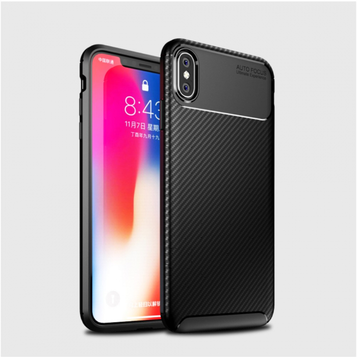 Husa silicon carbon 4 Iphone X/Xs - Negru 1