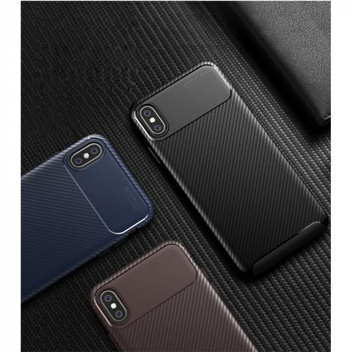 Husa silicon carbon 4 Iphone X/Xs - Maro 0
