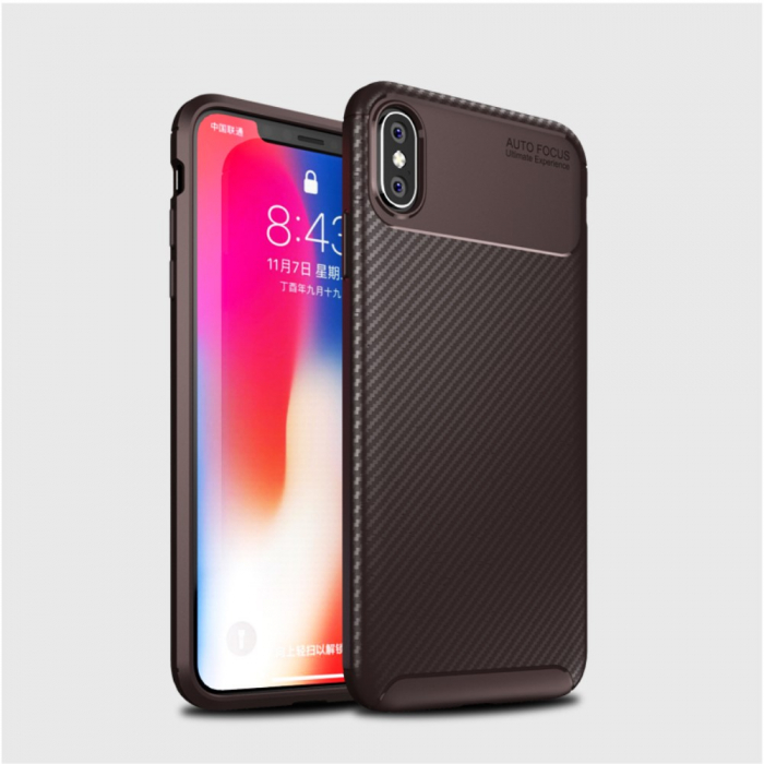 Husa silicon carbon 4 Iphone X/Xs - Maro 1