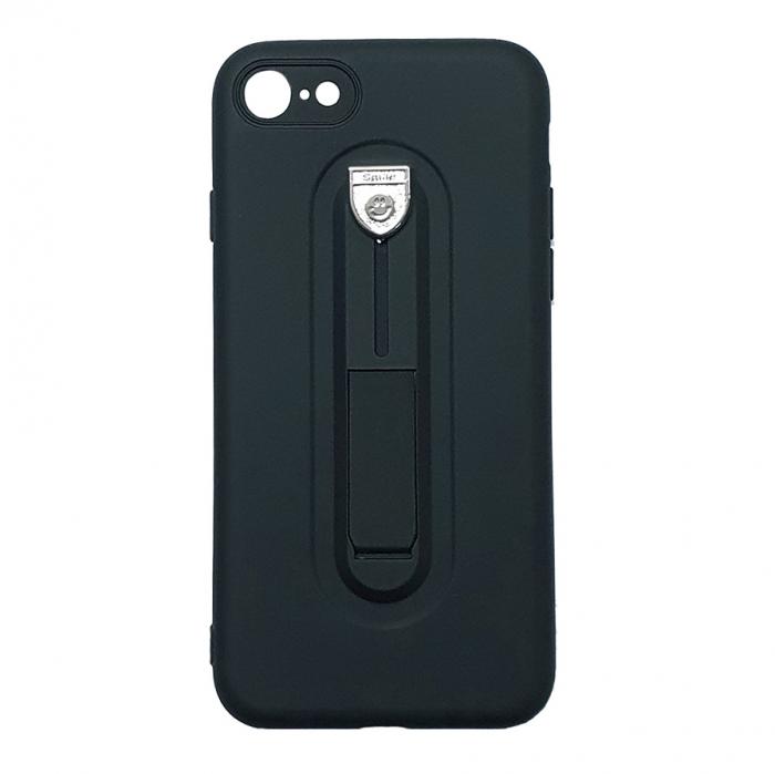 Husa silicon cu suport Iphone 7/8 plus, Negru 0