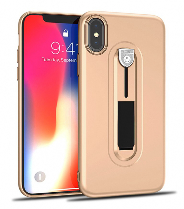 Husa silicon cu suport Iphone Xr, Gold 0