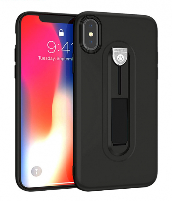 Husa silicon cu suport Iphone Xs Max, Negru [0]