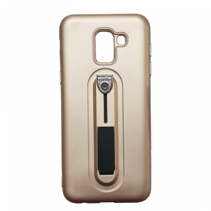 Husa silicon cu suport Samsung A6 (2018), Gold 0