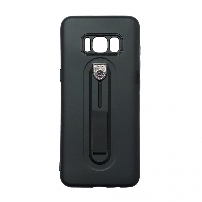 Husa silicon cu suport Samsung S8 plus - Negru [0]