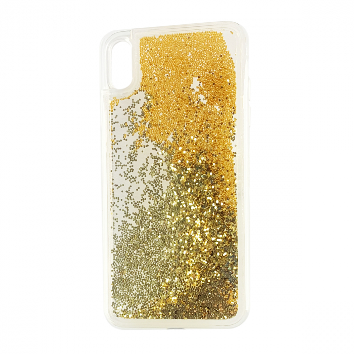 Husa silicon lichid-sclipici Iphone Xs Max -  Gold 0