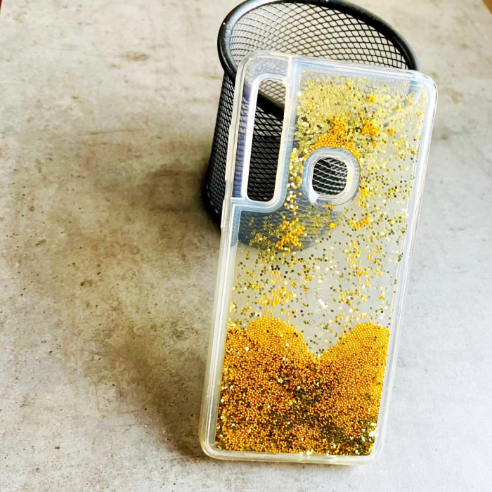 Husa silicon lichid-sclipici Samsung A9 (2018), Gold 0