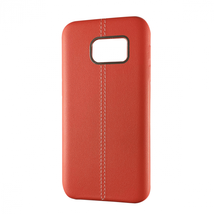 Husa silicon piele-metal Samsung S6 edge, Rosu 0
