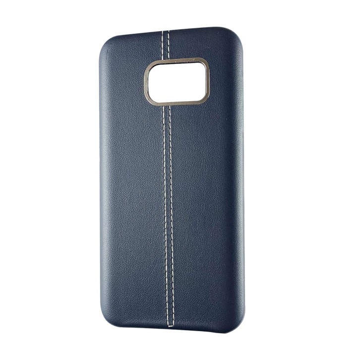 Husa silicon piele-metal Samsung S6 edge, Albastru 0