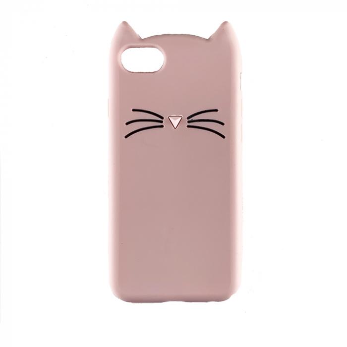 Husa silicon pisica Iphone 7/8/SE2, Roz [1]