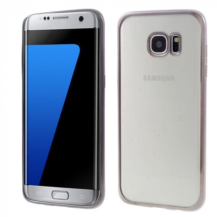 Husa silicon placat margine Samsung S6 edge, Gri 0