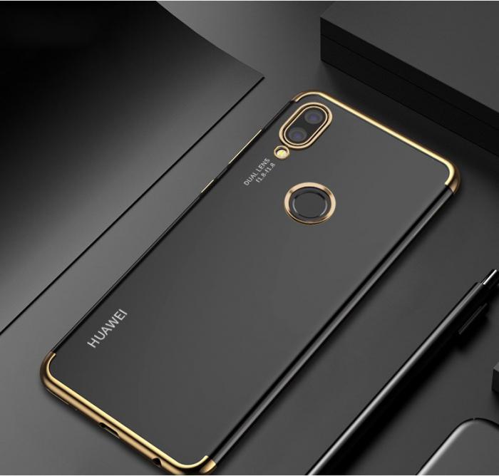 Husa silicon placat margini Huawei P20 Lite 2019 -Gold 0