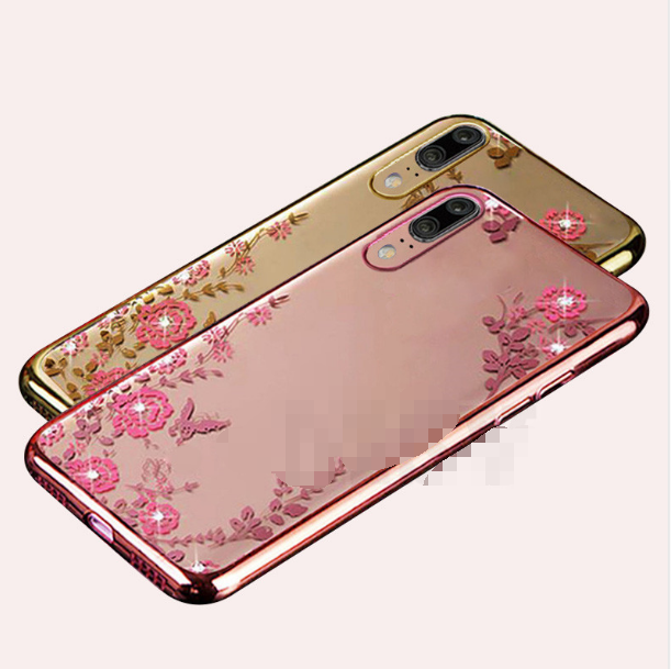 Husa silicon placata si pietricele Huawei P20 - 2 culori 0