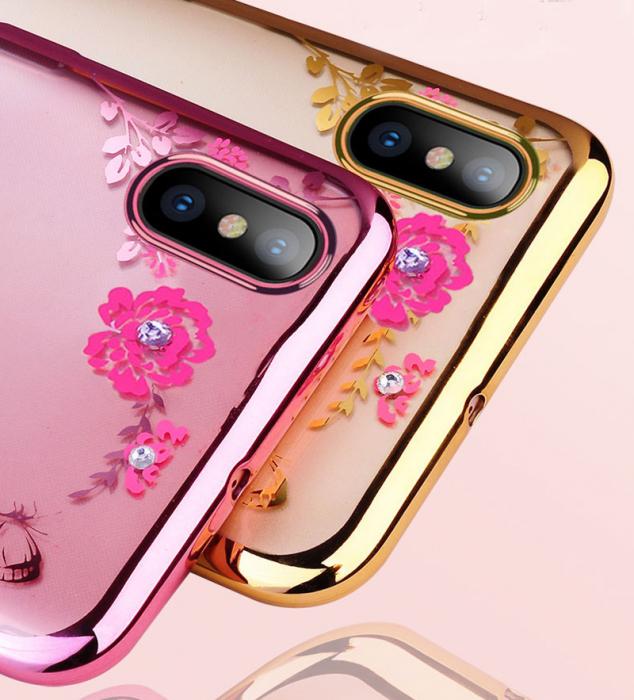 Husa silicon placata si pietricele Huawei Y7 (2019) - 2 culori 1