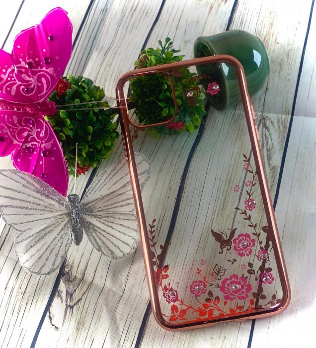 Husa silicon placata si pietricele Iphone 11 Pro Max - Rose 0