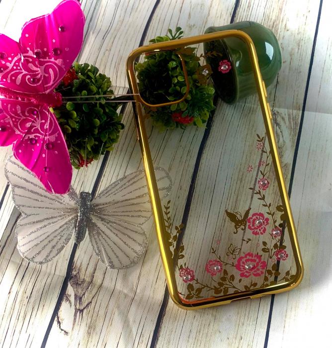 Husa silicon placata si pietricele Iphone 11 Pro Max - Gold 0