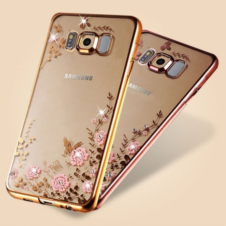 Husa silicon placata si pietricele Samsung S8 plus - 2 culori 0