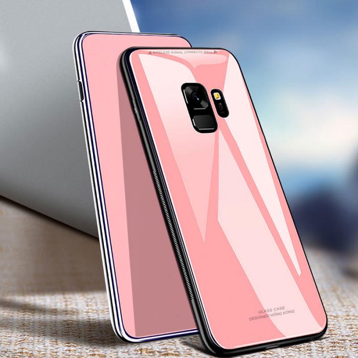 Husa silicon spate sticla Samsung A6 plus (2018) roz 0
