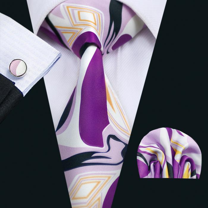 Set cravata + batista + butoni matase naturala model mov 1269 [0]