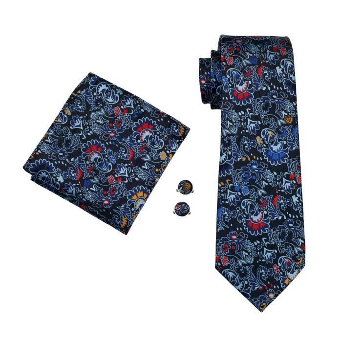 Set cravata + batista + butoni matase naturala model albastru 254 [0]
