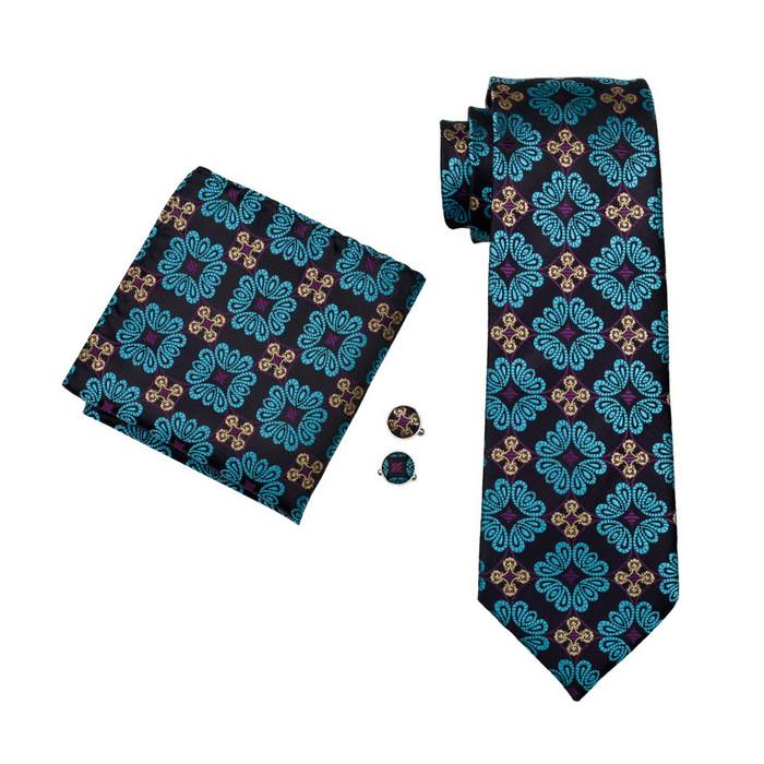 Set cravata + batista + butoni matase naturala model albastru 329 [0]