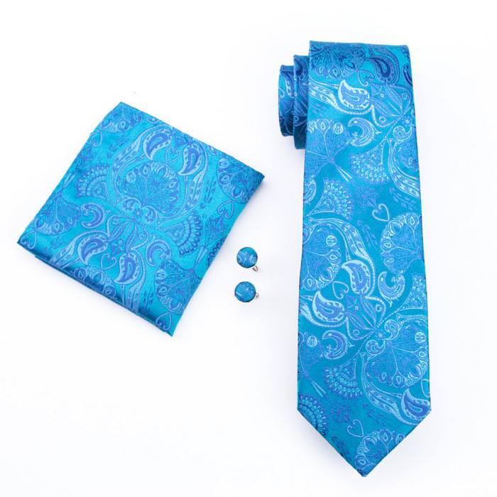Set cravata + batista + butoni matase naturala model albastru 368 [0]