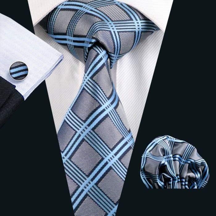 Set cravata + batista + butoni matase naturala model albastru 400 [1]