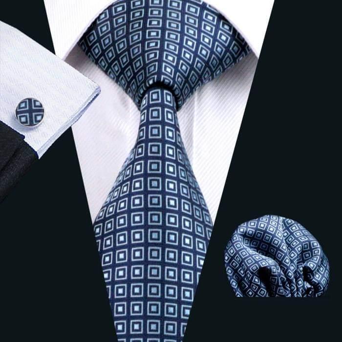 Set cravata + batista + butoni matase naturala model albastru 505 [1]