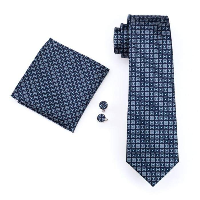 Set cravata + batista + butoni matase naturala model albastru 505 [0]