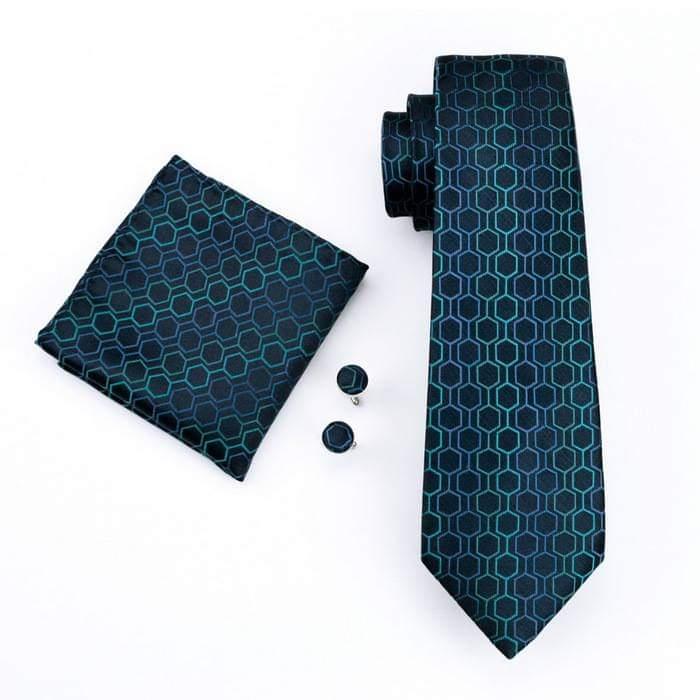 Set cravata + batista + butoni matase naturala model albastru 534 [0]