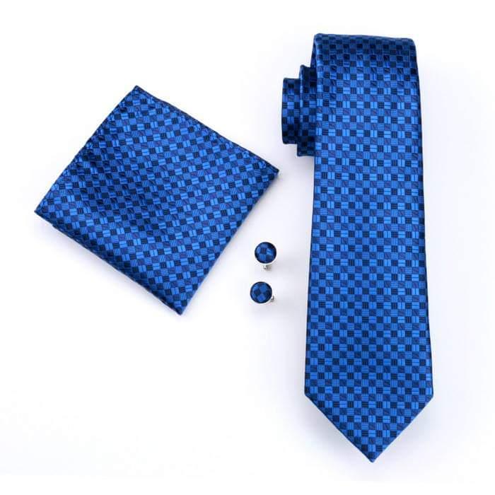 Set cravata + batista + butoni matase naturala model albastru 561 [0]