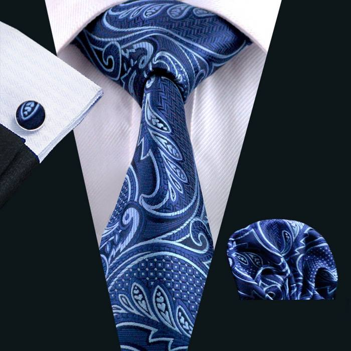 Set cravata + batista + butoni matase naturala model albastru 635 [1]