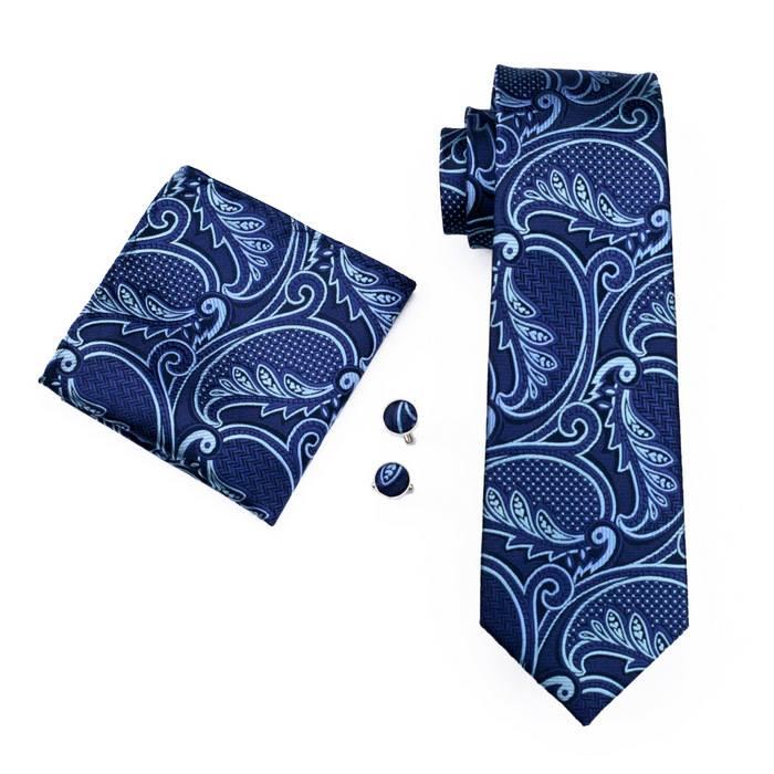 Set cravata + batista + butoni matase naturala model albastru 635 [0]