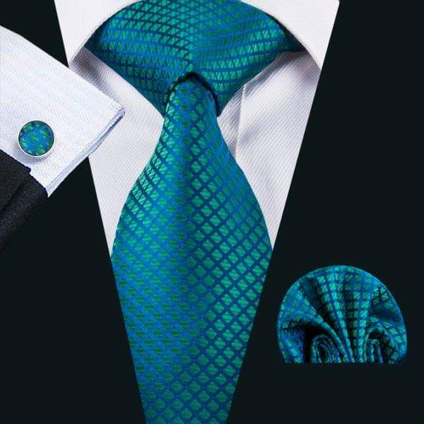 Set cravata + batista + butoni matase naturala model albastru cu verde 1610 [1]