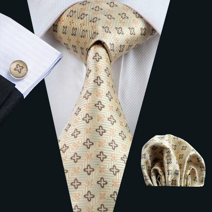 Set cravata + batista + butoni matase naturala model crem 582 [1]
