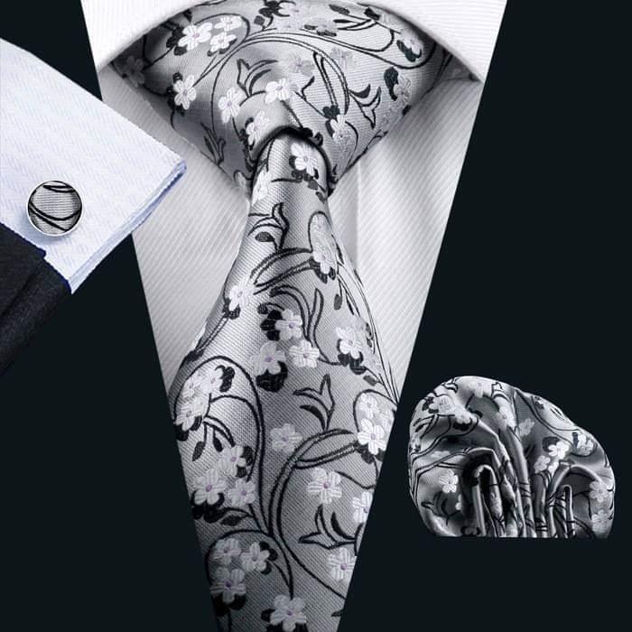 Set cravata + batista + butoni matase naturala model gri 996 [0]