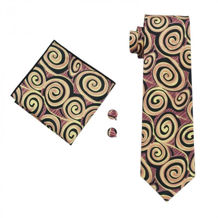 Set cravata + batista + butoni matase naturala model maro 1284 [0]