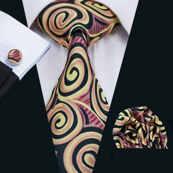 Set cravata + batista + butoni matase naturala model maro 1284 [1]