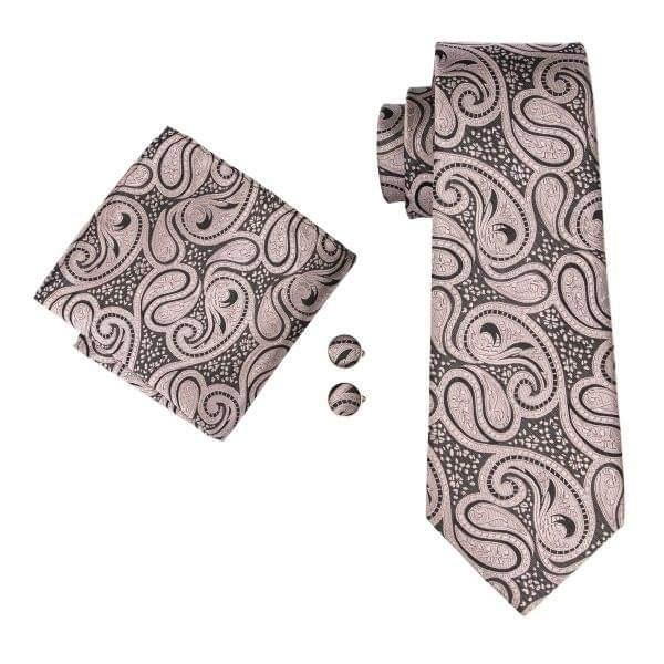 Set cravata + batista + butoni matase naturala model maro cu crem 1580 [0]