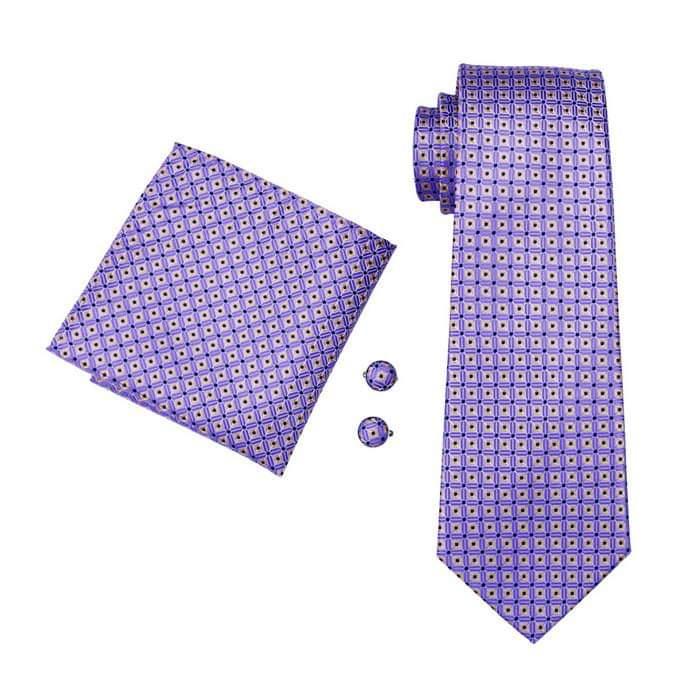 Set cravata + batista + butoni matase naturala model mov cu galben 572 [0]