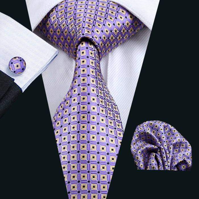 Set cravata + batista + butoni matase naturala model mov cu galben 572 [1]