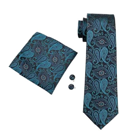 Set cravata + batista + butoni matase naturala model negru cu albastru 468 [0]
