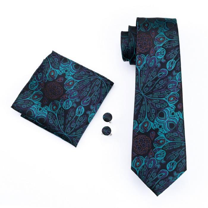 Set cravata + batista + butoni matase naturala model negru cu albastru 612 [0]