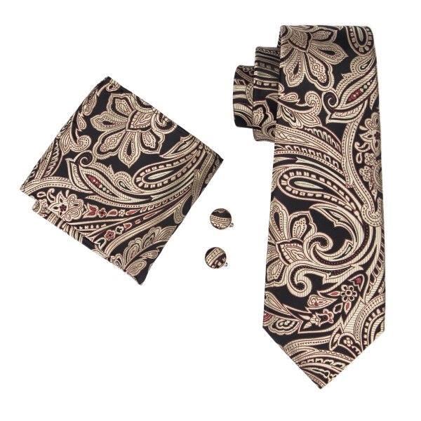 Set cravata + batista + butoni matase naturala model negru cu maro 1621 [0]