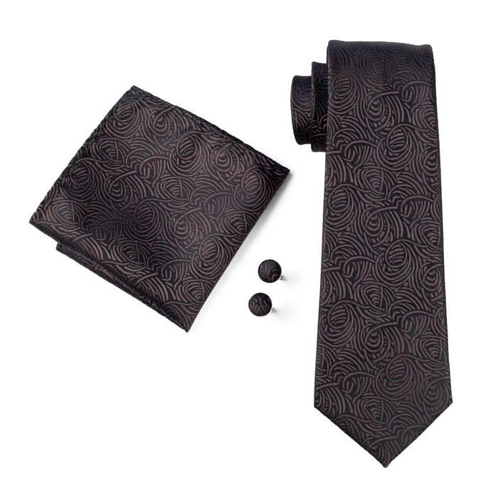 Set cravata + batista + butoni matase naturala model negru cu maro 548 [0]